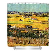 Harvest At La Crau With Montmajour In The Background Shower Curtain by Vincent Van Gogh