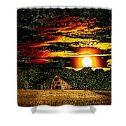Harvest Moon And Late Barn Shower Curtain