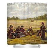 Harvesters Resting In The Sun, Berkshire, 1865 Oil On Canvas Shower Curtain