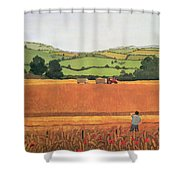Harvesting In The Cotswolds Shower Curtain