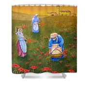 Harvesting Poppies In Tuscany Shower Curtain