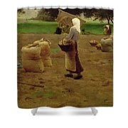 Harvesting Potatoes Oil On Canvas Shower Curtain