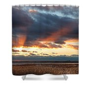 Harvey Beach Sunset Shower Curtain