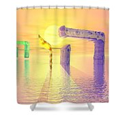 Face Of God Hovering Above The Waters Shower Curtain