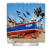 Hastings Fishing Boat Shower Curtain