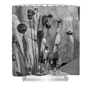 Hat Pins Black And White Shower Curtain