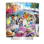 Hat Shopping At Turre Market Shower Curtain