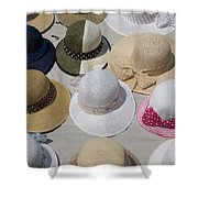 Hats For Sale Next To Marina, Lerici Shower Curtain