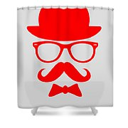 Hats Glasses And Mustache Poster 3 Shower Curtain by Naxart Studio