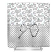 Having A Whale Of A Time Shower Curtain by Debra  Miller