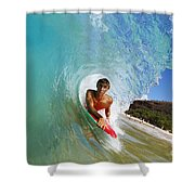 Hawaii, Maui, Makena - Big Beach, Boogie Boarder Riding Barrel Of Beautiful Wave Along Shore. Shower Curtain