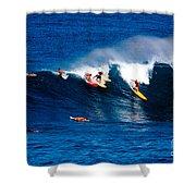 Hawaii Oahu Waimea Bay Surfers Shower Curtain by Anonymous