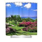 Hawaii Wailea Gold Course Golf Course Panorama 2 Shower Curtain
