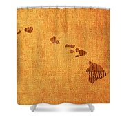Hawaii Word Art State Map On Canvas Shower Curtain