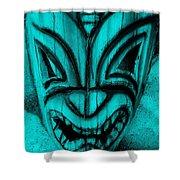 Hawaiian Aquamarine Mask Shower Curtain