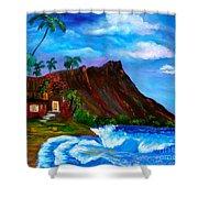 Hawaiian Homestead At Diamond Head Shower Curtain