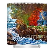 Hawaiian Hut By Rushing Waters Shower Curtain