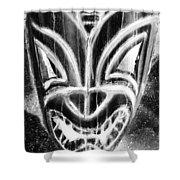 Hawaiian Mask Negative Black And White Shower Curtain