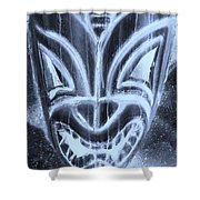Hawaiian Mask Negative Cyan Shower Curtain