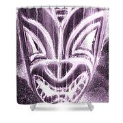 Hawaiian Mask Negative Pink Shower Curtain