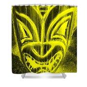 Hawaiian Mask Negative Yellow Shower Curtain