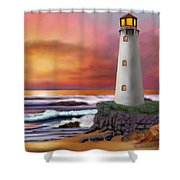 Hawaiian Sunset Lighthouse Shower Curtain