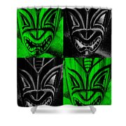 Hawaiian Masks Black Green Shower Curtain