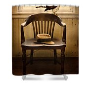 Hawk And Fedora On Chair Shower Curtain