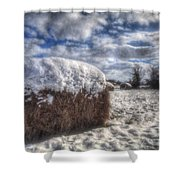 Hay Bale In The Snow Shower Curtain