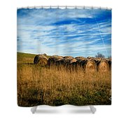 Hay Bales And Contrails Shower Curtain