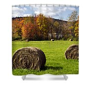 Hay Bales And Fall Colors Shower Curtain