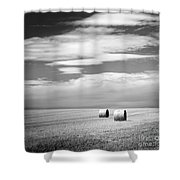 Hay Bales Black And White Shower Curtain