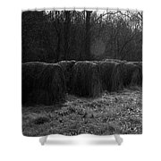 Hay Bales Bw Shower Curtain
