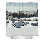 Hay Bales Covered With Snow And Ice In Maine Shower Curtain