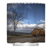 Hay Bales On A Wagon Shower Curtain