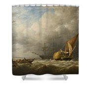 Hay Barges In The Thames Estuary Shower Curtain by Alfred Herbert