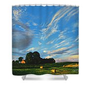 Hay Rolls On The Farm Series One In Westmoreland County Pennsylvania Shower Curtain
