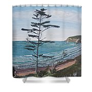 Hay Stack Rock From The South On The Oregon Coast Shower Curtain