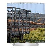 Hay Wagon In Field Shower Curtain