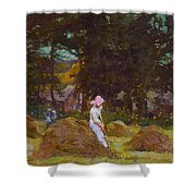 Haymaking  Shower Curtain by Elizabeth Adela Stanhope Forbes