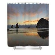 Haystack And Sunset Along Oregon Coast Shower Curtain