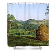 Haystack At The Hillside, Transylvania Shower Curtain