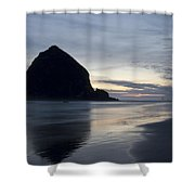 Haystack Rock On Cannon Beach Oregon Evening Shower Curtain