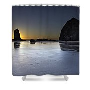 Haystack Rocks And The Needles At Cannon Beach Shower Curtain