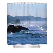 Haystack Rocks In Cannon Beach Shower Curtain