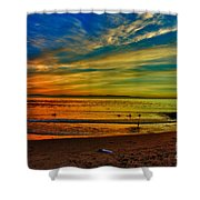hd 329 Surfboard In The Sand-edted version Shower Curtain