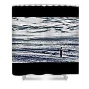 Hdr Black White Color Effect Fisherman Beach Ocean Sea Seascape Landscape Photography Image Photo  Shower Curtain