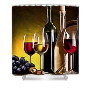 Hdr Style Wine Glasses Bottle Cask And Grapes Shower Curtain
