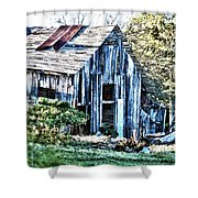 Hdr Tin Patch Roof Barn Shower Curtain