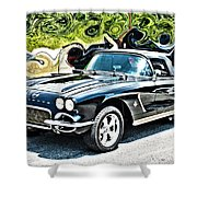 Chevrolet Corvette Vintage With Curly Background Shower Curtain